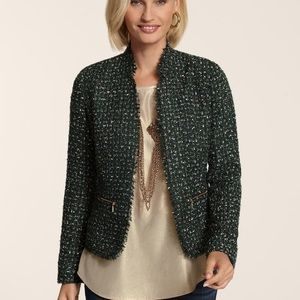 Chico's emerald tweed shimmer open front jacket